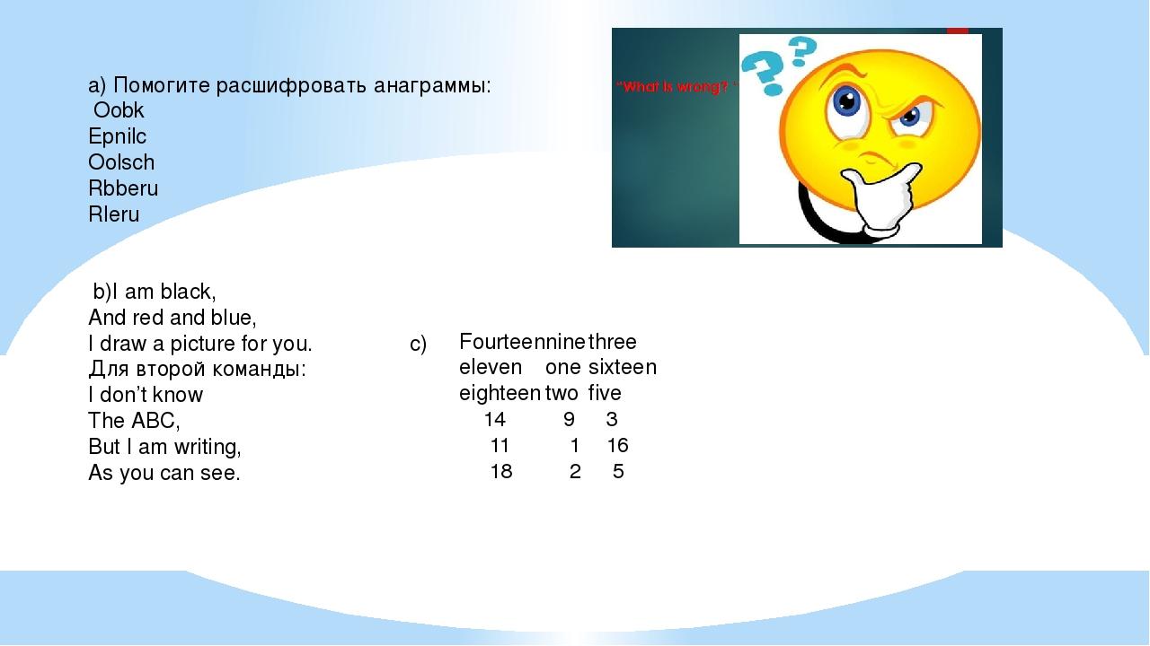 a) Помогите расшифровать анаграммы: Oobk Epnilc Oolsch Rbberu Rleru b)I am bl...
