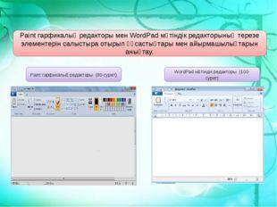 Paint гарфикалық редакторы (80-сурет) WordPad мәтіндік редакторы (100-сурет)