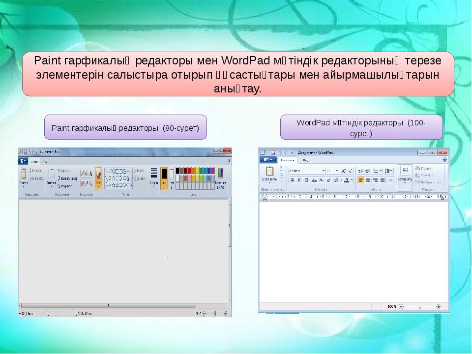 Paint гарфикалық редакторы (80-сурет) WordPad мәтіндік редакторы (100-сурет)...