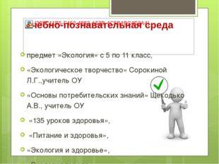 предмет «Экология» с 5 по 11 класс, «Экологическое творчество» Сорокиной Л.Г