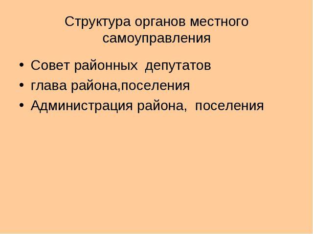Структура органов местного самоуправления Совет районных депутатов глава райо...