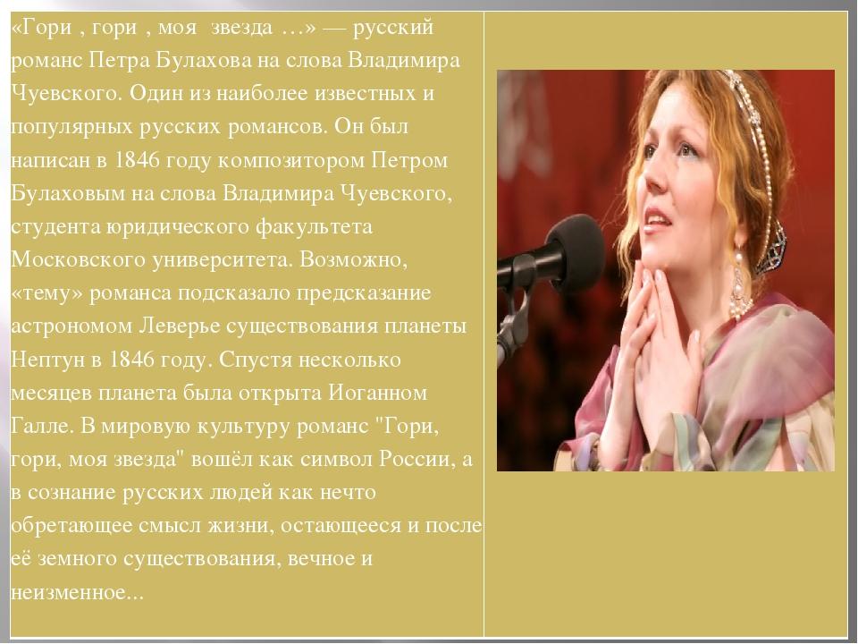 «Гори́, гори́, моя́ звезда́…» — русский романс Петра Булахова на слова Владим...