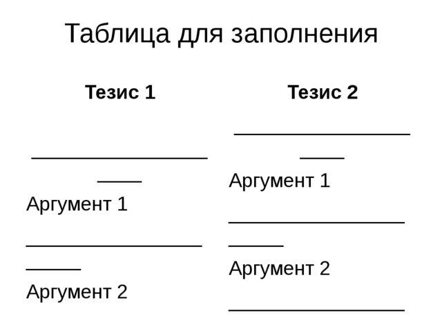 Таблица для заполнения Тезис 1 ____________________ Аргумент 1 ______________...