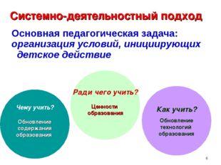 * Основная педагогическая задача: организация условий, инициирующих детское д