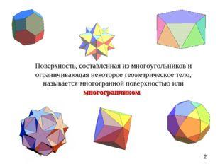 Поверхность, составленная из многоугольников и ограничивающая некоторое геоме