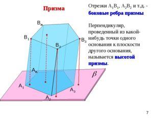 Призма А1 А2 Аn B1 B2 Bn B3 А3 Отрезки А1В1, А2В2 и т.д. - боковые ребра приз