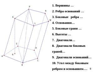 1. Вершины … 2. Ребра оснований … 3. Боковые ребра … 4. Основания… 5. Боковые