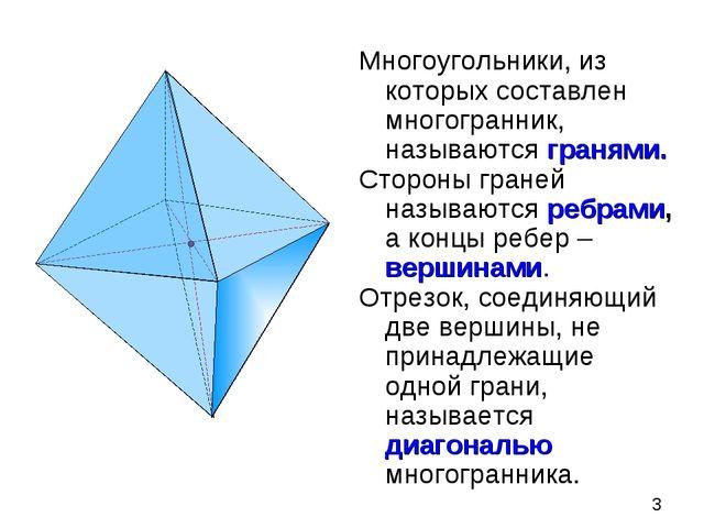 Многоугольники, из которых составлен многогранник, называются гранями. Сторон...