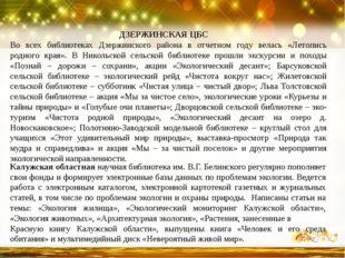 ДЗЕРЖИНСКАЯ ЦБС Во всех библиотеках Дзержинского района в отчетном году вела