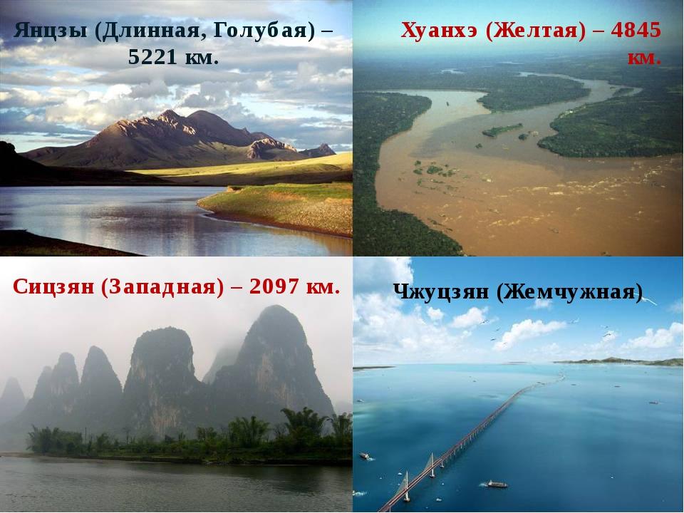 Янцзы (Длинная, Голубая) – 5221 км. Хуанхэ (Желтая) – 4845 км. Сицзян (Западн...