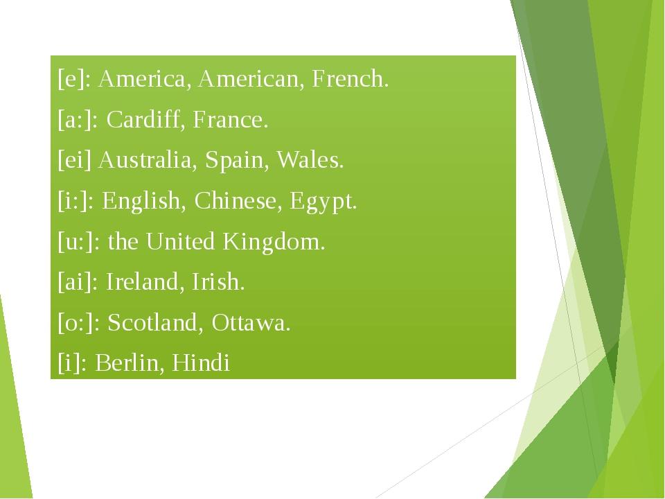 [e]: America, American, French. [a:]: Cardiff, France. [ei] Australia, Spain...