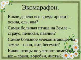 Экомарафон. Какое дерево все время дрожит – осина, ель, ива? Самая большая пт