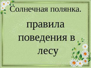 Солнечная полянка. правила поведения в лесу