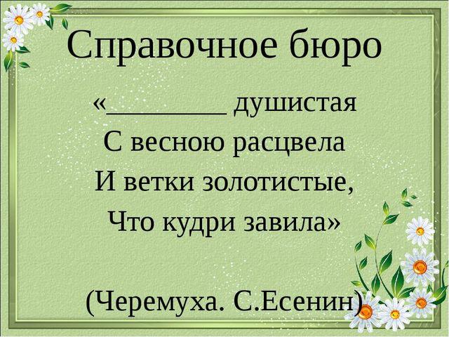 Справочное бюро «________ душистая С весною расцвела И ветки золотистые, Что...
