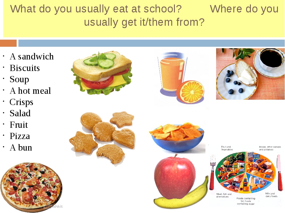 What do you usually eat at school? Where do you usually get it/them from? A s...