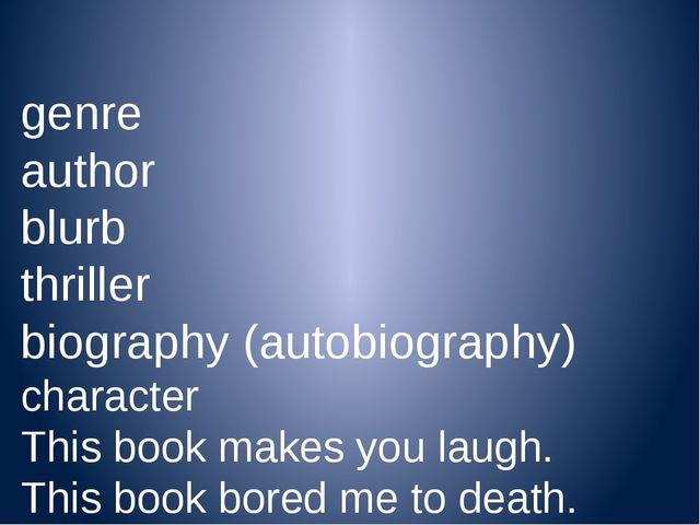 genre author blurb thriller biography (autobiography) character This book ma...