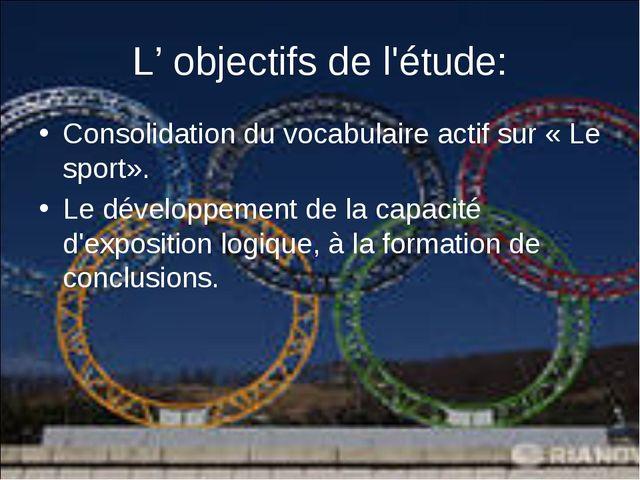 Consolidation du vocabulaire actif sur «Le sport». Consolidation du vo...