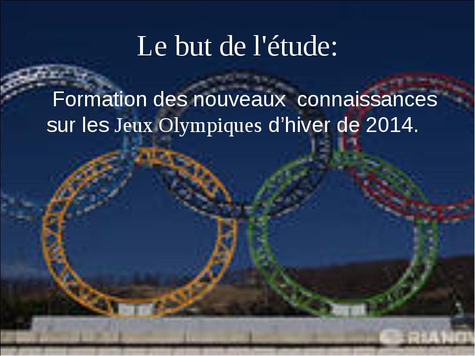 Formation des nouveaux  connaissances sur les Jeux Olympiques d'hiver de 2014...