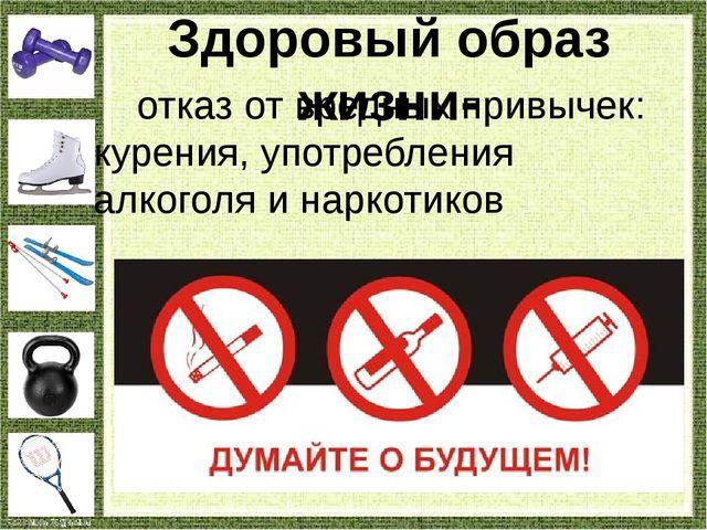 отказ от вредных привычек: курения, употребления алкоголя и наркотиков Здоро...