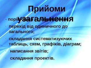 - порівняння і співставлення; перехід від одиничного до загального; складання