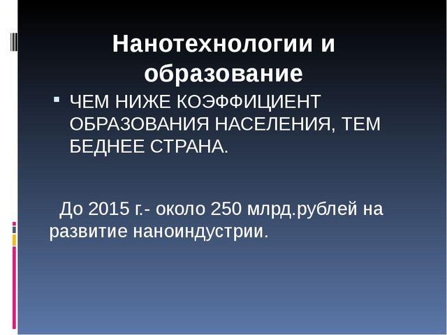 ЧЕМ НИЖЕ КОЭФФИЦИЕНТ ОБРАЗОВАНИЯ НАСЕЛЕНИЯ, ТЕМ БЕДНЕЕ СТРАНА. До 2015 г.- о...