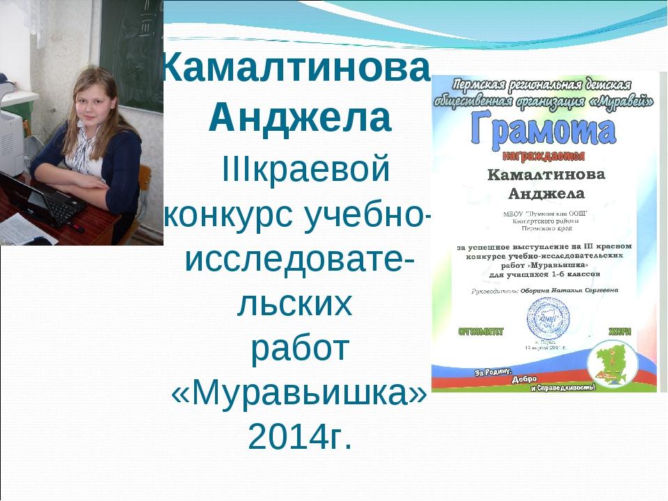 Камалтинова Анджела IIIкраевой конкурс учебно-исследовате-льских работ «Мурав...