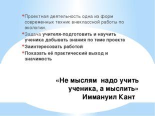 «Не мыслям надо учить ученика, а мыслить» Иммануил Кант Проектная деятельнос