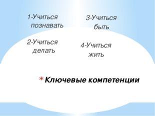Ключевые компетенции 1-Учиться познавать 2-Учиться делать 3-Учиться быть 4-Уч