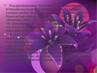 Под руководством Чугуновой Т.Б. и Загребиной Е.И. (старший научный сотрудник