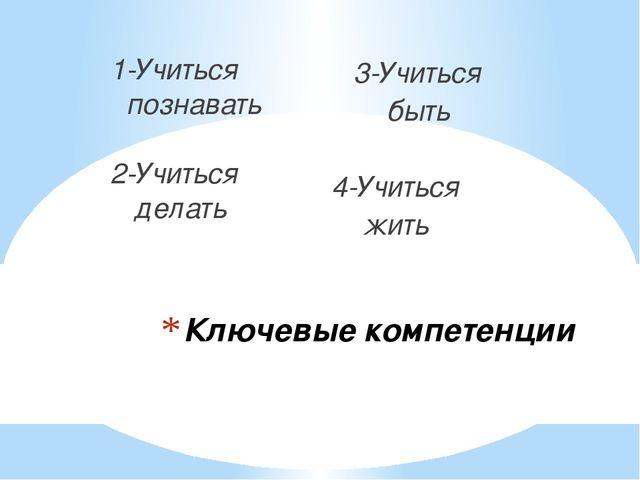 Ключевые компетенции 1-Учиться познавать 2-Учиться делать 3-Учиться быть 4-Уч...