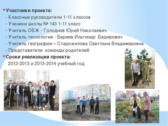 Участники проекта: - Классные руководители 1-11 классов - Ученики школы № 143...