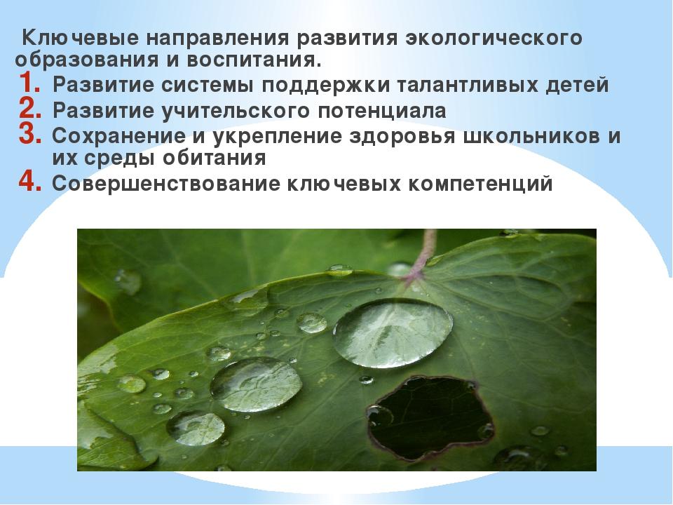 Ключевые направления развития экологического образования и воспитания. Разви...