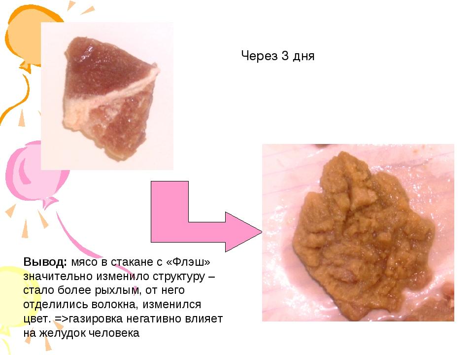 Через 3 дня Вывод: мясо в стакане с «Флэш» значительно изменило структуру – с...