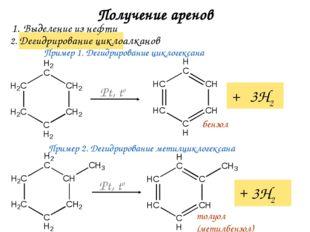 Получение аренов 2. Дегидрирование циклоалканов Выделение из нефти + 3Н2 Pt,