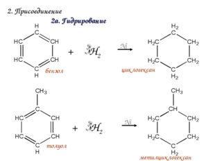 2. Присоединение + Н2 Ni 2а. Гидрирование циклогексан толуол + Н2 Ni бензол м