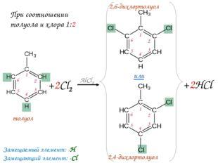+2Cl2 AlCl3 или +2HCl толуол 2,6-дихлортолуол 2,4-дихлортолуол Замещаемый эле