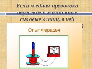Если медная проволока пересекает магнитные силовые линии, в ней появляется эл
