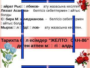Қайрат Рысқұлбеков- ату жазасына кесілген Ляззат Асанова- белгісіз себептерме