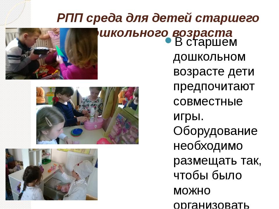 РПП среда для детей старшего дошкольного возраста В старшем дошкольном возрас...