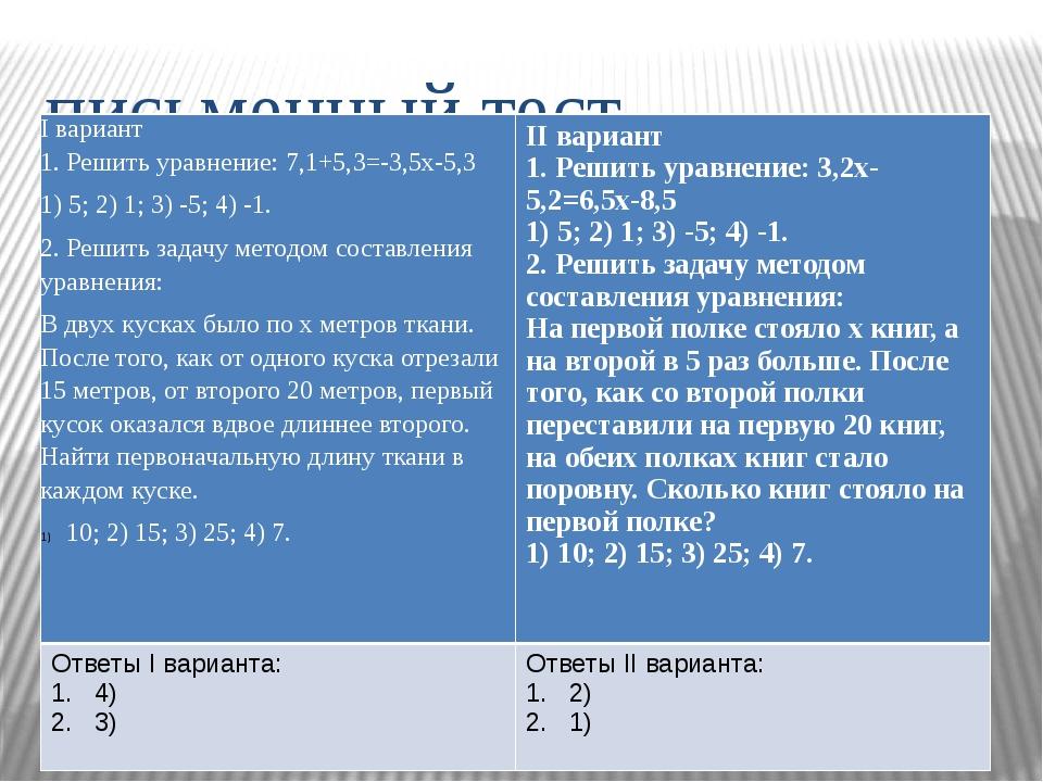 письменный тест. I вариант 1. Решить уравнение: 7,1+5,3=-3,5х-5,3 1) 5; 2) 1;...