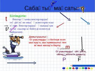 Сабақтың мақсаты: m P F t v Білімділік: Вектор ұғымы,векторлардың теңдігі жән