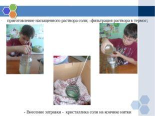 приготовление насыщенного раствора соли; -фильтрация раствора в термос; - Вн