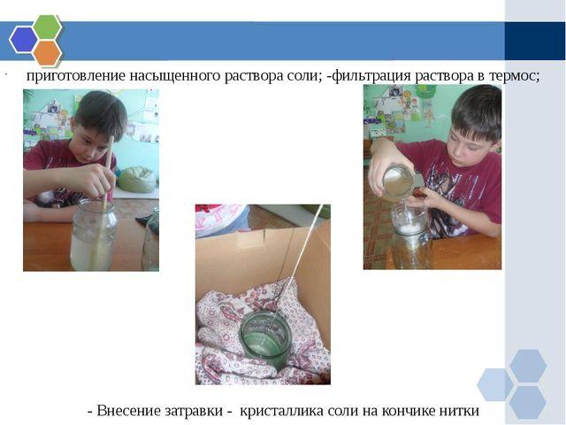 приготовление насыщенного раствора соли; -фильтрация раствора в термос; - Вн...