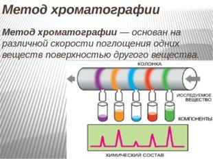 Метод хроматографии Метод хроматографии— основан на различной скорости погло