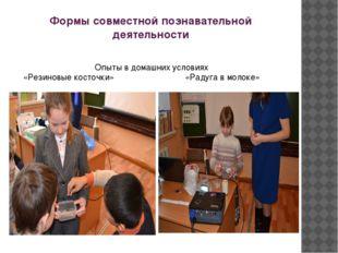 Формы совместной познавательной деятельности Опыты в домашних условиях «Резин