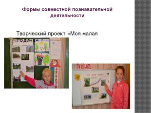 Формы совместной познавательной деятельности Творческий проект «Моя малая Род