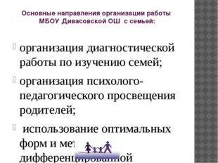Основные направления организации работы МБОУ Дивасовской ОШ с семьей: организ