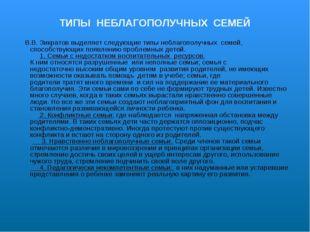 ТИПЫ НЕБЛАГОПОЛУЧНЫХ СЕМЕЙ В.В. Зикратов выделяет следующиетипы небла