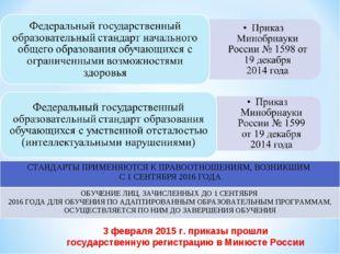 3 февраля 2015 г. приказы прошли государственную регистрацию в Минюсте России