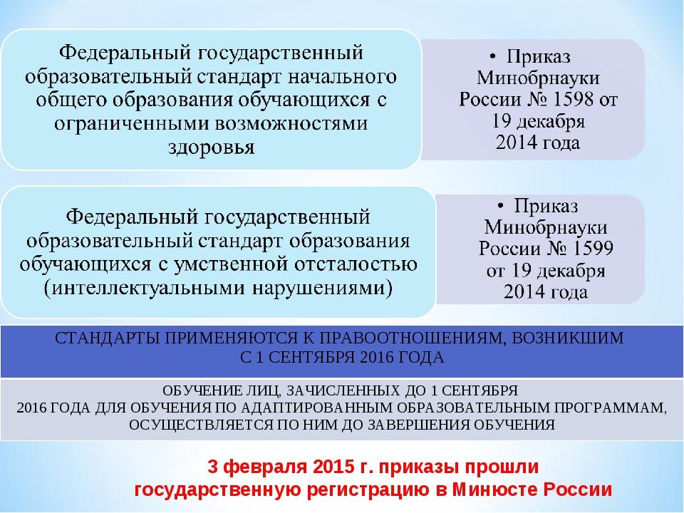 3 февраля 2015 г. приказы прошли государственную регистрацию в Минюсте России...